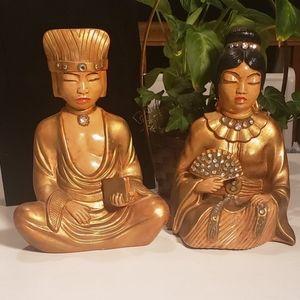 Vintage Arnels Ceramic Meditating Figures